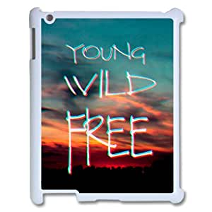wugdiy New Fashion Cover Case for iPad2,3,4 with custom Young, wild & free