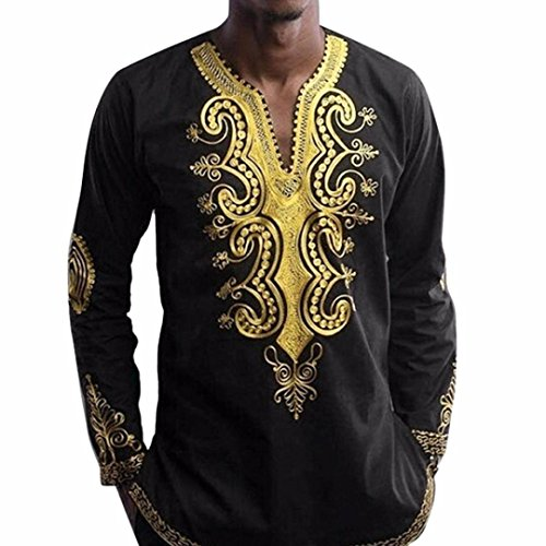 Hombre Plus Size Costumes (XUANOU Mens Hipster Hip Hop Style African Dashiki Graphic V-collor Long Sleeve Top T-Shirt (M, Black))