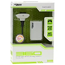 KMD Charge and Play Pack Charger-White, Xbox 360