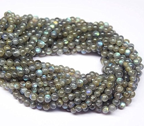 jennysun2010 Natural Labradorite Gemstone 3mm Smooth Round Loose Beads Length 15.5'' Inches (38.5cm) 1 Strand per Bag for Bracelet Necklace Earrings Jewelry Making Crafts Design Healing