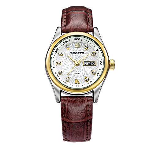SMEETO Womens Quartz Genuine Leather Band Superb Bracelet Watch, Gold Case for Mothers Day Gift