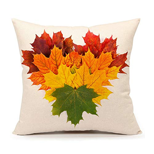 4TH Emotion Autumn Leaves Fall Thanksgiving Home Decor Throw Pillow Cover Cushion Case 18 x 18 Inch Cotton Linen for Sofa (Yellow Green)