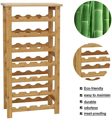 Peach Tree 28 Bottles Bamboo Wine 7-Tiers Free Standing Floor Rack Storage Shelves Cabinet Display Shelf Container