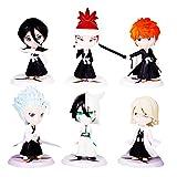 Japanese Anime Bleach Figures Collection Figurines 6Pc/Set , Kurosaki Ichigo Kuchiki Rukia