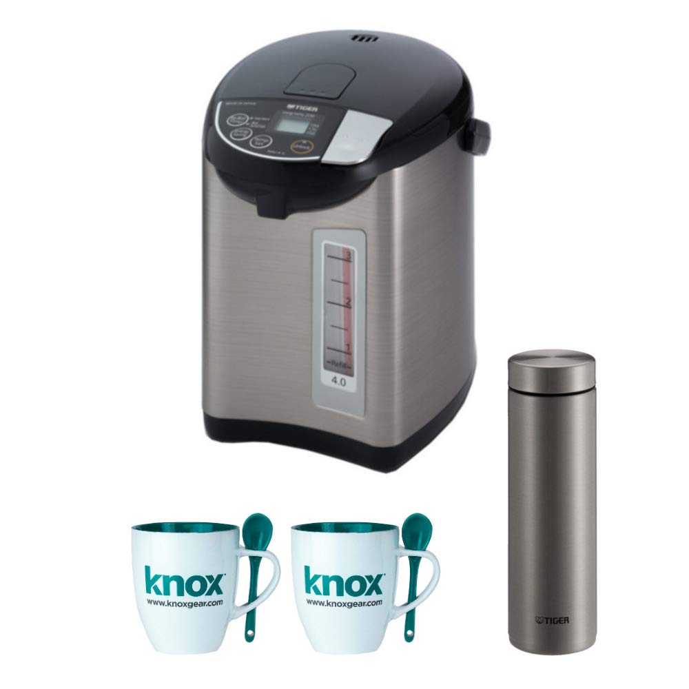 Tiger PDU-A40U-K Electric Water Boiler and Warmer, Stainless Black, 4.0-Liter Includes Travel Mug and 2 Mugs by Tiger Corporation (Image #1)