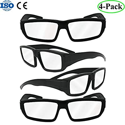 HYRIX 4-Pack Plastic Solar Eclipse Glasses Goggles Spectacles ,Adult Size CE and ISO Certified - Mirror Lens Eyes Protection Safety solar Viewer Viewing Sun Filter Material ABS Black - 4 Pack