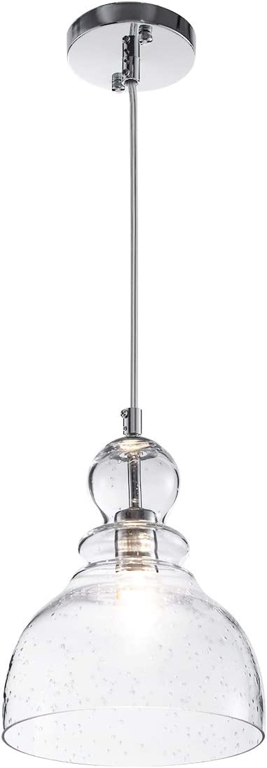 One-Light Glass Shade Pendant Light, Industrial Adjustable Edison Farmhouse Kitchen Lamp Ceiling Light Fixture