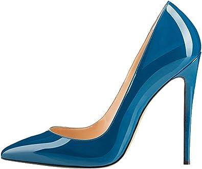 Amazon Com Monicoco Zapatillas De Tacon Para Mujer Tallas Grandes Tacon Puntiagudo Para Vestido De Boda Fiesta Shoes