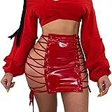 Women's Sexy Underwear Temptation Bandages Women Leather High Waist Uniform Pleated Skirt (Red, XL)