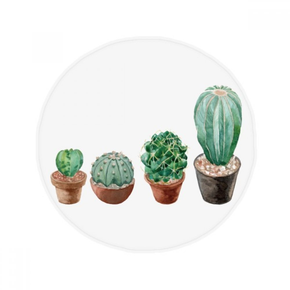 60X60cm DIYthinker Succulents Cactus Potted Plant Illustration Anti-Slip Floor Pet Mat Round Bathroom Living Room Kitchen Door 60 50Cm Gift