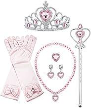 Finrezio 8 Pcs Sofia Princess Aurora Dress up Cosplay Set Girls Costume Party Favor Jewelry Set Aurora Dress u