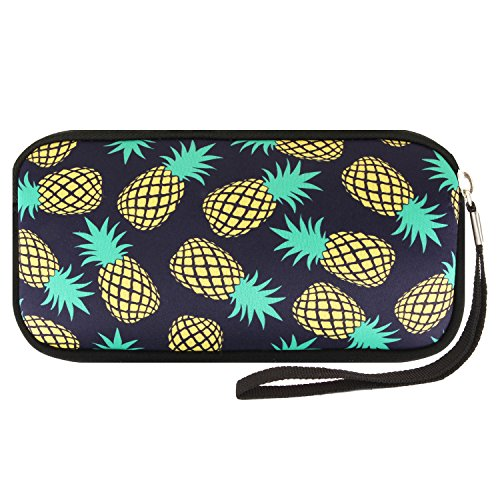 Violet Mist Neoprene Coin Pencil Purse Pouch Cosmetic Bag Women Wallets(Pineapple-Black)