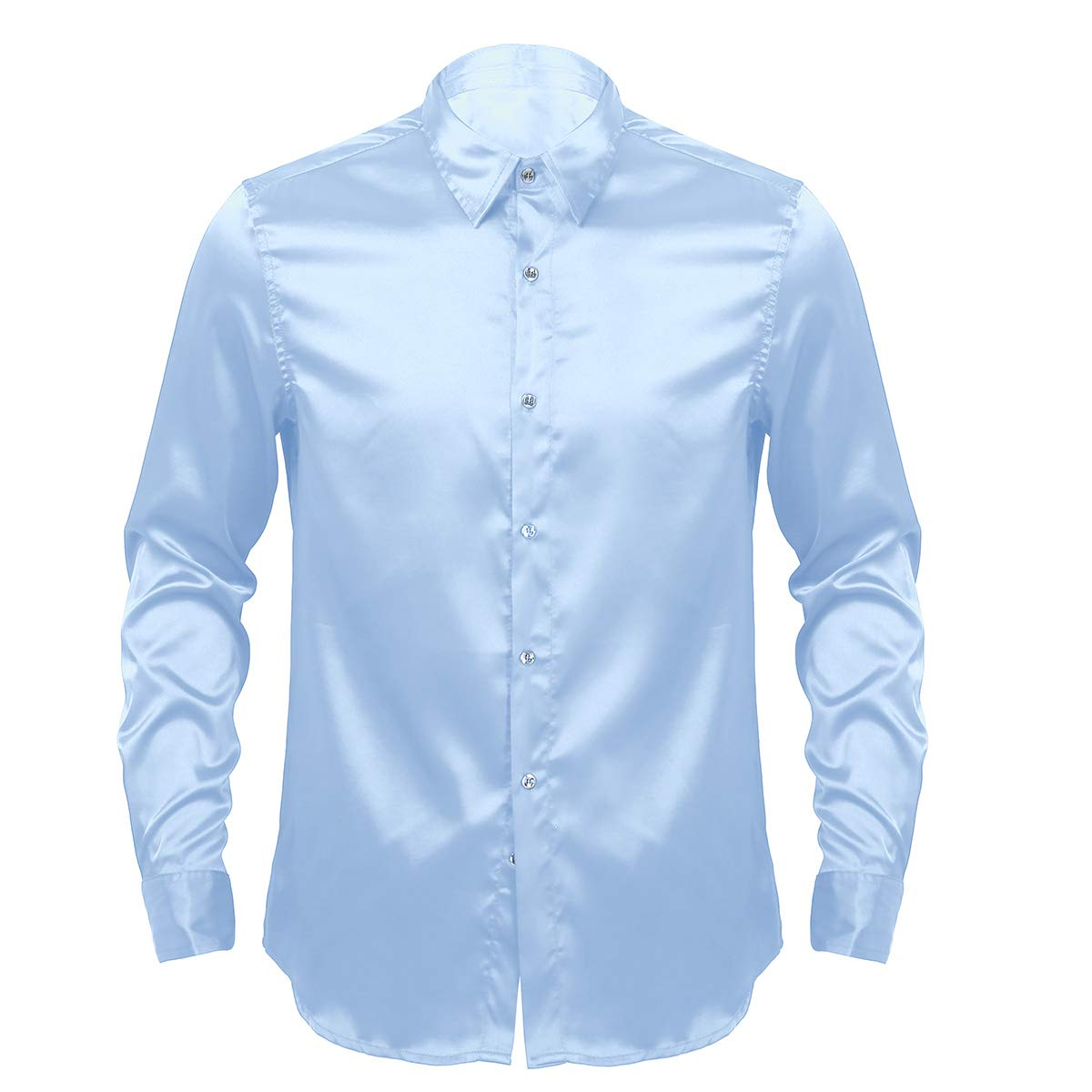 CHICTRY Mens Shiny Satin Silk Like Long Sleeve Dance Prom Button Down Dress Shirts