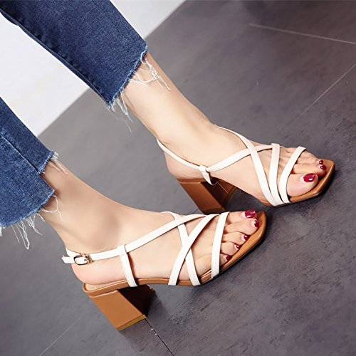 toe ruvida in alta con fashion square e sandali tacco tacchi Estate cross a europeo tacco scarpe stile fibbie toe YMFIE donna B6XqC8