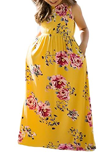 Azokoe Girls Summer Dresses Girls New 2018 Amazon Summer Casual Bohemian Beach Boho Floral Print Sundress Sleeveless Long Holiday Maxi Vintage Maxi Long Dress Sundress Size 8 9