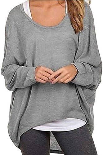 Rjxdlt - Suéter de manga de murciélago para mujer, blusas holgadas, camisas sueltas casuales