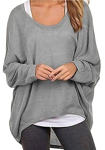 Pullover Knit Top (Dutebare Women Oversized Baggy Shirts Batwing Sleeve Pullover Tops Casual Loose Knit Blouse Gray S)