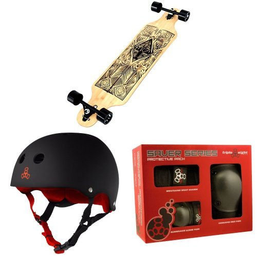 Atom Drop Through Longboard (40 Inch) with Triple 8 Helmet and Pad Set