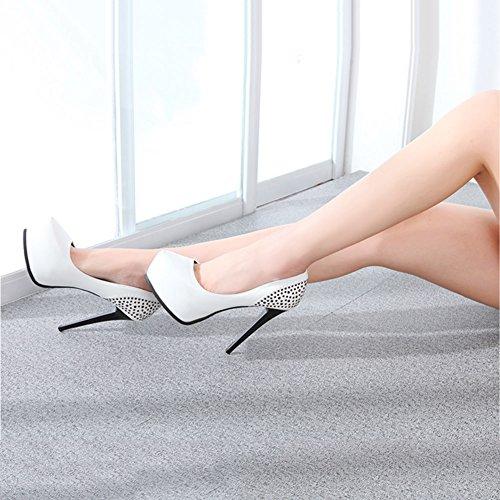 EU36 stile plateau XUERUI di donna dimensioni Colore scarpe alto classico moda impermeabile a di con con eleganti Nuove UK4 CN36 diamante Bianca tacco scarpe da Viola W07qTBW