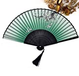 Green Chinese Spun Silk Flower Folding Pocket Hand Fan Party Favors Shower Gifts