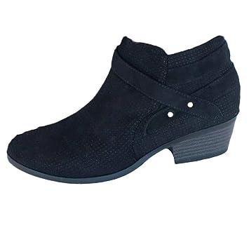 Logobeing Zapatos de Tacón Mujer Cuadrado con Hebilla Retro Botas Botines Mujer con Punta Cuadrada Altas Boots Plataforma (Negro, 35): Amazon.es: Equipaje