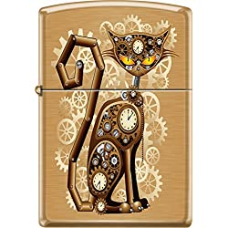 Zippo Industrial Machinery, Cat With Gears, Steam Punk, Brushed Brass Lighter