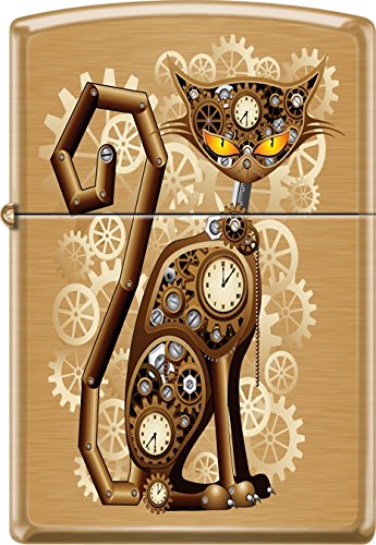 Zippo Industrial Machinery, Cat With Gears, Steam Punk, Brushed Brass Lighter by Zippo