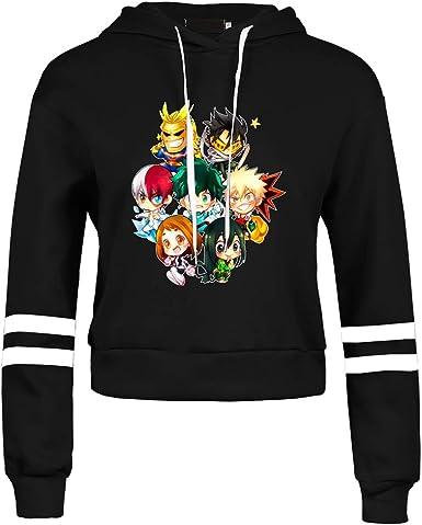 Aoliandatong My Hero Academia Izuku Midoriya Friends Crop Top Hoodies Striped Sleeve Sweatshirts