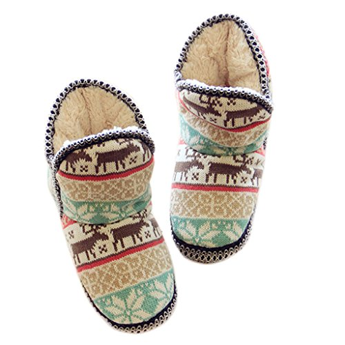 Pantoufles Jacquard Dames Maison Agréable Forme Noël Chaussures Confortable Fortuning's Plate Femmes Velours Jds Cerf 4HSO1S