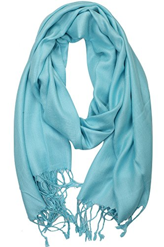 Achillea Soft Silky Solid Pashmina Shawl Wrap Scarf for Wedding Bridesmaid Evening Dress (Tiffany Blue)