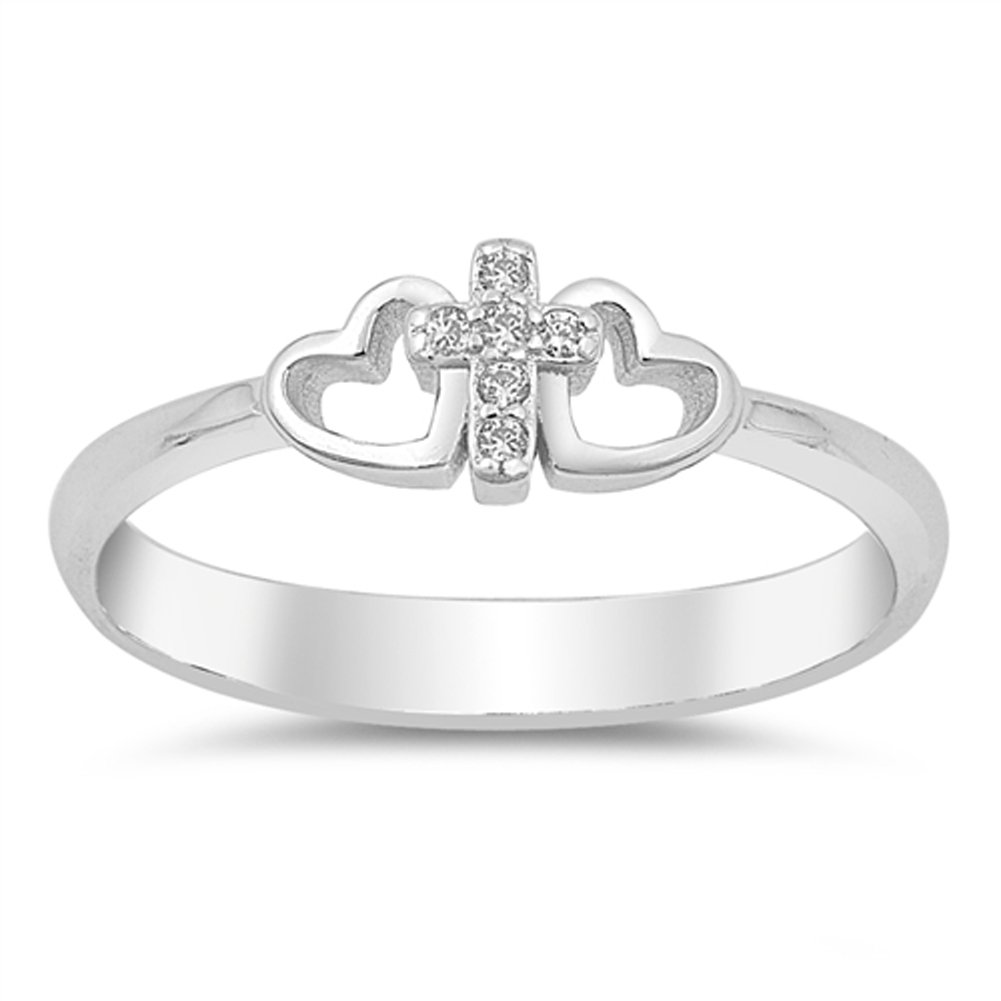 Clear CZ Cross Infinity Heart Promise Ring .925 Sterling Silver Band Size 6