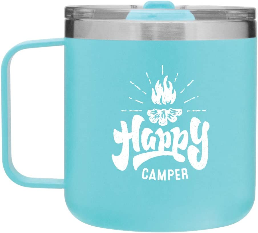 Amazon Com Happy Camper Camping Mug Gifts For Camping 12oz Vacuum Insulated Stainless Steel Travel Mug With Lid By Mugheads Matte Mint Kitchen Dining