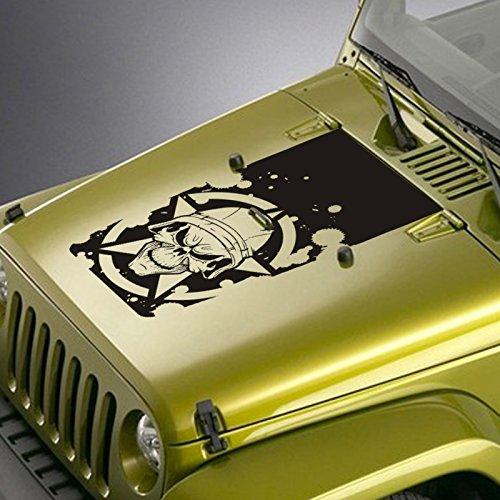 Jeepazoid - Jeep Hood Decal For Wrangler TJ YJ JK - Army Star Soldier Skull Blackout Sticker - Matte Black (Star Soldier)