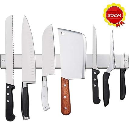 50CM Barra Magnética para Cuchillos, 20 Pulgadas Soporte para Cuchillos, Listón Magnético para Cuchillos de Acero Inoxidable, Herramientas de Cocina ...