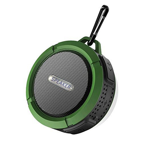 Speaker Waterproof Bluetooth, Wireless Bluetooth, Portable Bluetooth, 5W, Speakerphone, Hands-Free Link, HD Sound, Suction Cup, Built-in Mic, (Green) ()