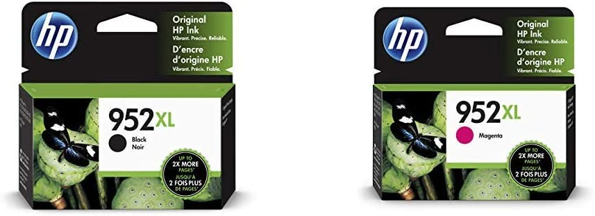 HP 952XL Black Ink Cartridge (F6U19AN) & 952XL Ink Cartridge Magenta (L0S64AN)