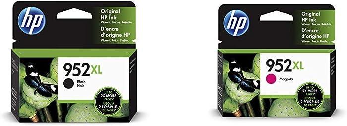HP 952XL Black Ink Cartridge (F6U19AN) & 952XL Ink Cartridge Magenta (L0S64AN)