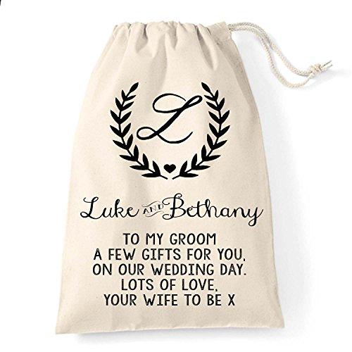 personaliseitonline bolsa algodón Grande regalo diseño antes de inicial el la novio de boda corona para y q4ggAdn