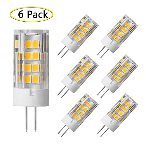 G4 LED Bulb 5W Equivalent to 40W G4 Halogen Bulb, T3 JC Type Bi-Pin G4 Base, AC/DC 12 Volt Warm White 3000K, Not-Dimmable (6 Pack) ()