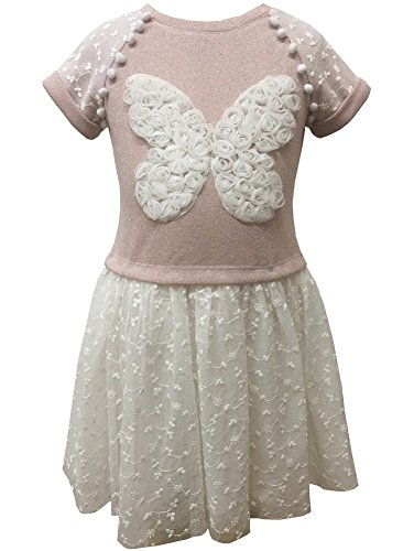 - Caeli Kids Little Girls Pink White French Terry Butterfly Embroidered Dress 4