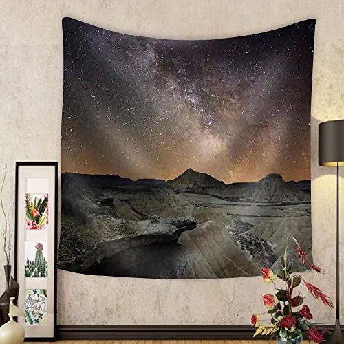 Niasjnfu Chen Custom tapestry Milky Way over the Desert of Bardenas Spain - Fabric Wall Tapestry Home Decor by Niasjnfu Chen