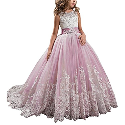 Princess Lace Long Girls Pageant Dresses Kids Prom Puffy Tulle Ball Gown Nude Pink,US8