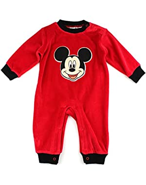 Mickey Mouse Infant Red Velour Coverall Jumpsuit