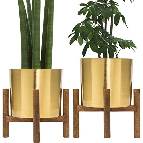 Set of 2 Mid Century Brass Plated Gold Planter with Stand, 7 Inch Large Metal Pot with Mango Wood Stand, Modern Flower Pot Decor for Living Room, Orchid, Aloe, Succulents & Large Cactus Plants, Indoor (Metal Indoor Planters)