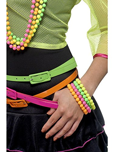 Smiffy's Women's Neon Bracelets, Pack of 4, Assorted Colours, One Size, (80's Chick Costume)