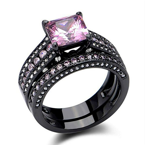 Pink Sapphire Engagement Ring Set Princess Cut Black Created Women Luxury Wedding Band (6)