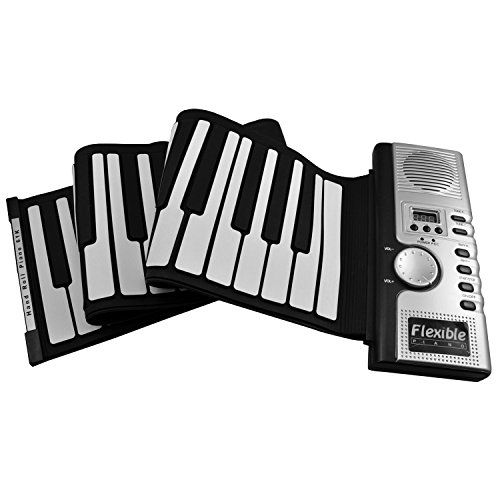 FlashingBoards Roll Up Electronic Piano/Keyboard/Organ w/ Padded 61 Keys & MIDI