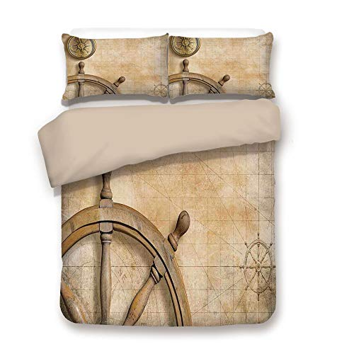 Duvet Cover Set,Back of Khaki,Nautical,Steering Wheel and Compass Vintage Map Setting Captains Chamber Finding Treasure Print,Beige,Decorative 3 Pcs Bedding Set by 2 Pillow Shams,Full - Winnie The Pooh Steering Wheel Cover