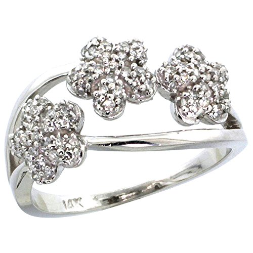 - 10K White Gold Triple Flower Diamond Ring 0.50 cttw, 3/8 inch wide, size 10