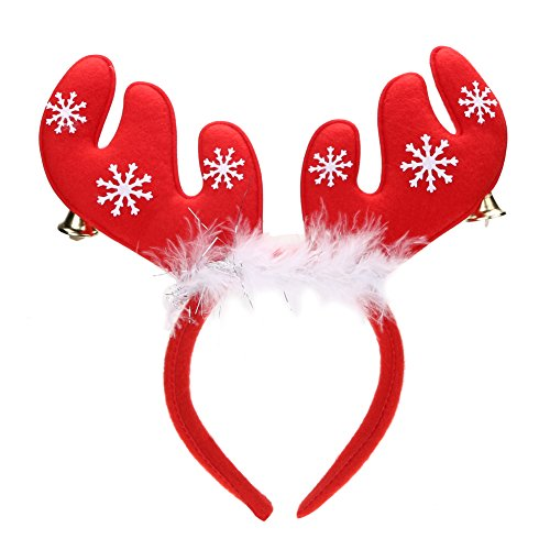 Reindeer Headband Craft - Whitelotous Reindeer Antlers Headband with Two Little Bells for Halloween Easter Christmas Decoration Party Accessory Christmas Headband Gift (Red)